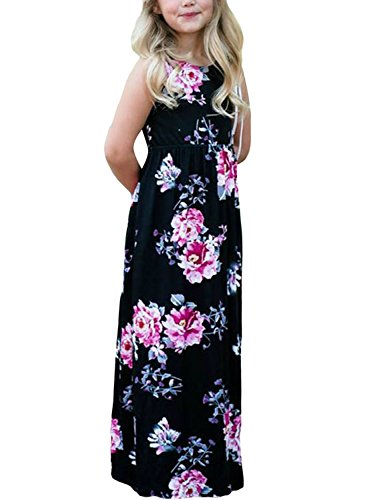 Price comparison product image Acelitt Big Girls Maxi Dress Plus Size Summer Casual Sundress Boho Flower Floral Print Sleeveless Vacation Long Vintage Maxi Long Dress Black Size 12 13