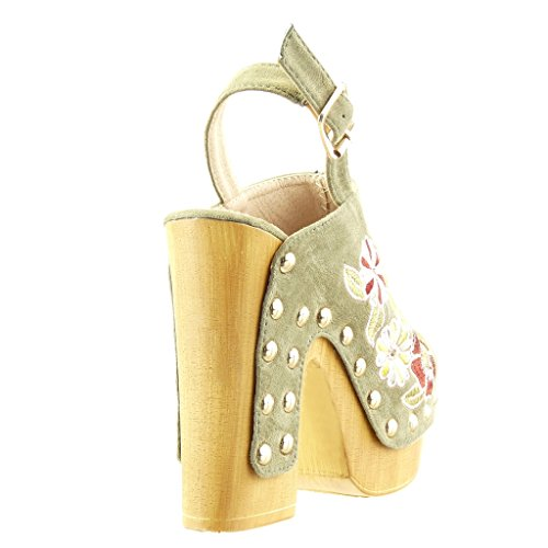 Angkorly - Scarpe da Moda zoccoli sandali zeppe donna fiori ricamo borchiati Tacco a blocco tacco alto 13 CM - Verde