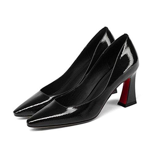 Travail EUR37UK455 Chaussures Pointu Or Rugueux Fête Chunky Tribunal Doigt BLACK Cuir Robe Chaussure NVXIE Talon Noir Pompes Femmes de Haute Pied UqRxZwB