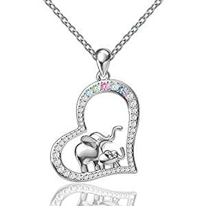 FREECO S925 Sterling Silver Cute Elephant Family Jewelry Love Heart Animal Lucky Pendant Necklace Earrings Bracelet for Woman Girls, Mothers Day Jewelry Gift