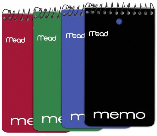 Mead Wirebound Memo Book, College Ruled, 3 x 5 Inches, Black, Red, Blue and Green, 60 Sheet Pad, 12 per Pack (45749) ()