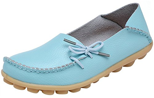 Shoes Shoes Moccasins Boat up Leather Eagsouni Women's Driving Sky Loafer Lace Blue Casual nZ4RSqvqx