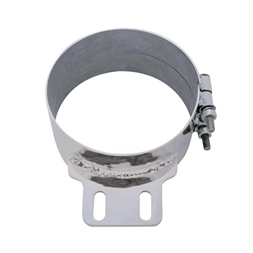 United Pacific 10321 7 inch Stainless Steel Butt Joint Exhaust Clamp with Straight Bracket