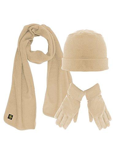Light Beige 3 Piece Fleece Hat Scarf & Glove Matching Set ()