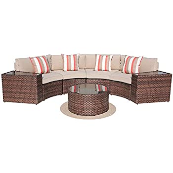 Tremendous Sunsitt Outdoor 7 Piece Half Moon Sectional All Weather Woven Sectional Set W Round Coffee Table Patio Curved Sofa Set W Beige Olefin Fabric Cushions Cjindustries Chair Design For Home Cjindustriesco