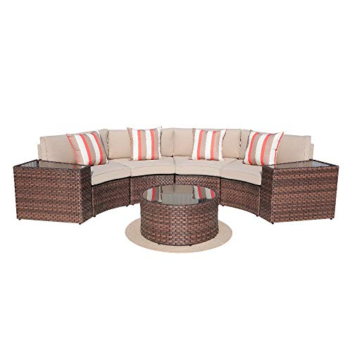 (SUNSITT Outdoor 7-Piece Half-Moon Sectional All Weather Woven Sectional Set w/Round Coffee Table, Patio Curved Sofa Set w/Beige Olefin Fabric Cushions & Brown Wicker)