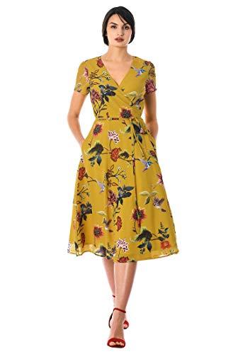 - eShakti FX Floral Print Georgette wrap Dress Gold Multi