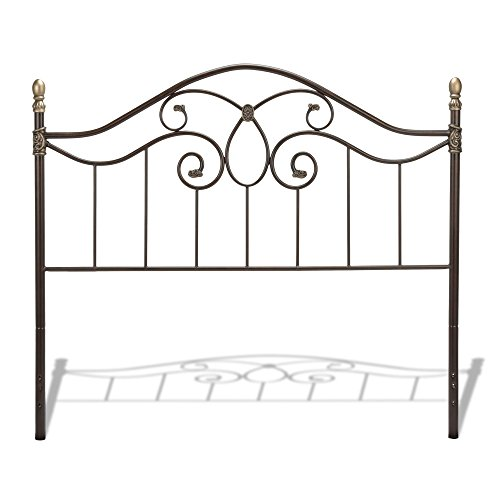 Leggett & Platt Dynasty Metal Headboard Panel with Camelback Arch and Soft Gold Highlighted Castings, Autumn Brown Finish, Full