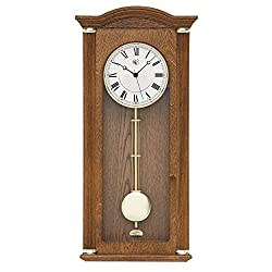 River City Clocks 5207O Oak Chiming Wall Clock with Brass Accents