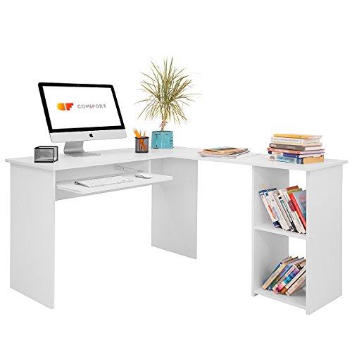 COMIFORT Escritorio Forma L - Mesa de Estudio con Estanteria de Estructura Firme, Moderna y Minimalista con 2 Baldas Espaciosas y de Gran Capacidad, Color Blanco