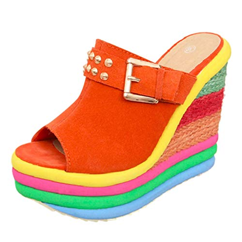◕‿◕ Watere◕‿◕ Women Summer Comfortable Wide Width Flat Wedges High Multicolor Patchwork Sandals Peep Toe Roman Shoes Orange