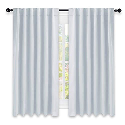 NICETOWN Insulated Room Darkening Curtain Panels - (Greyish White Color) W52 x L63, Two Pieces, Room Darkening Window Treatment Drape ()