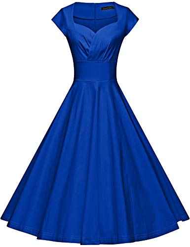 GownTown Womens Dresses Party Dresses 1950s Vintage Dresses Swing Stretchy Dresses, Royal Blue, X-Large
