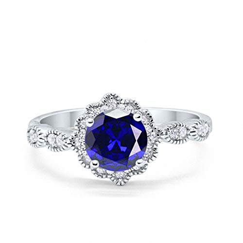 Halo Floral Art Deco Wedding Engagement Ring Simulated Blue Sapphire Round Cubic Zirconia 925 Sterling Silver, Size-5 ()