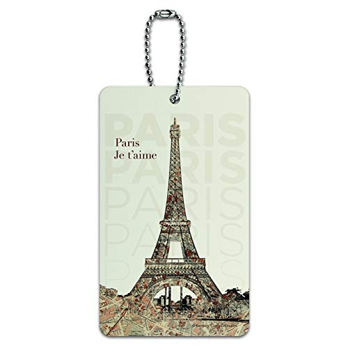 Paris, Je t'aime I Love You Eiffel Tower City Map Luggage Card Carry-On ID Tag