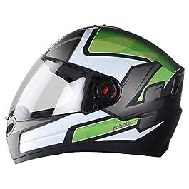 Steelbird SBA-1 Robotics Full Face Helmet in Matt Finish (Medium 580 MM, Matt Black/Green with Plain Visor)