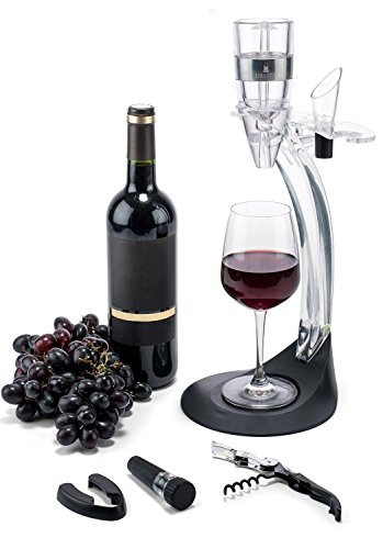 Wine Aerator Gift Set with Aluminum Ring - Wine Aerator and FREE Bar Accessories - Corkscrew, Foil Cutter, Stopper, Pourer & Storage Stand Tower in Gift Box for Red and White Wine