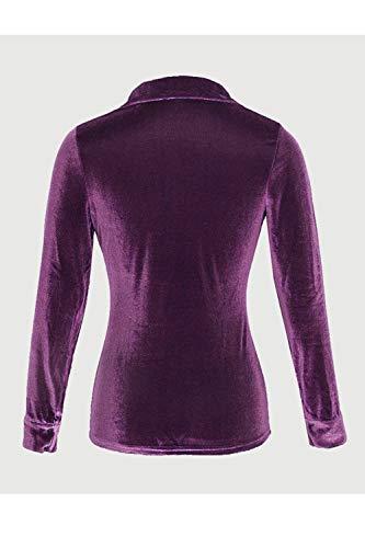 Chemisier Zred Manche Femmes Boutonne Long Copain Velvet Chemise Les Maxi 0xOFq414