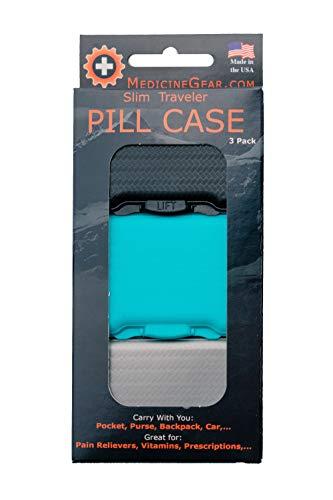 Teal Mist - Slim Traveler Pill Box - Small Pill case for Travel, Purse, Bag, Pocket (3 Pack, Jet Black, Teal Mist, Smokey Grey)