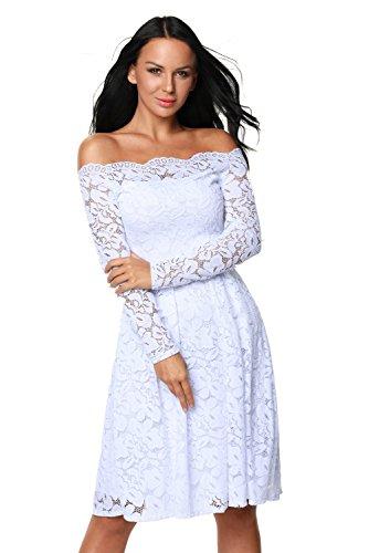 Épaule Au Large Pour Les Femmes Élégantes Designer97 Dentelle Courte / Longue Robe De Soirée De Mariage Manches Taille Plus Blanc
