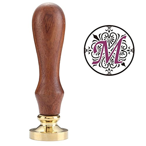 Wax Seal Stamp, Yoption Classic Irises Alphabet M Seal Wax Stamp, Vintage Retro Brass Head Wooden Handle Letter M Sealing Wax Seal Stamp (M)