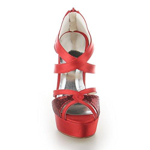de Mujeres Rojo de 20127 Satén Toe Peep de Zapatillas Cremallera estilete JIA Zapatos Plataforma Tacón Novia Las Boda Zapatos JIA nxIpBqFYwx