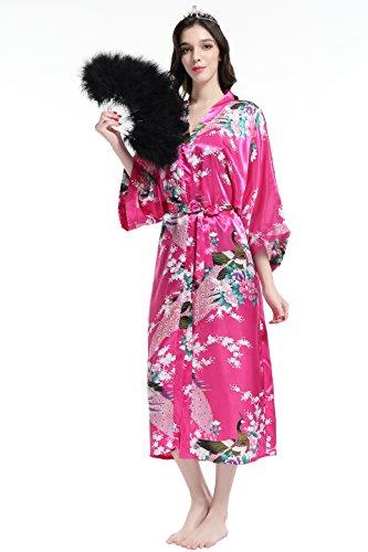 Ropa Seda Pavo Kimono Estampado ArtiDeco Real Rojo Seda de Vestido Pijama Satén de de dormir Kimono Novia de qUZ8qz