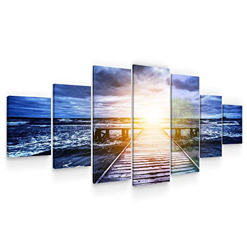 (STARTONIGHT Huge Canvas Wall Art Light in The End of Way - Large Framed Set of 7 40 x 95 Inches)
