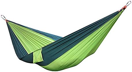 Owfeel Portable Nylon Double Travel Camping Hammock Parachute Multifunctional Hammock Yellowish Green Blackish Green for Light Travel Camping Hiking Backpacking Mats Swing