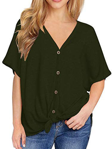 IWOLLENCE Womens Loose Henley Blouse Bat Wing Short Sleeve Button Down T Shirts Tie Front Knot Tops Army Green M