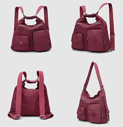 Women Multipurpose Bag Top Nylon resistant Backpack Purse Handbag Shoulder Travel Purple for Handle Fashion Water nxHBHqO