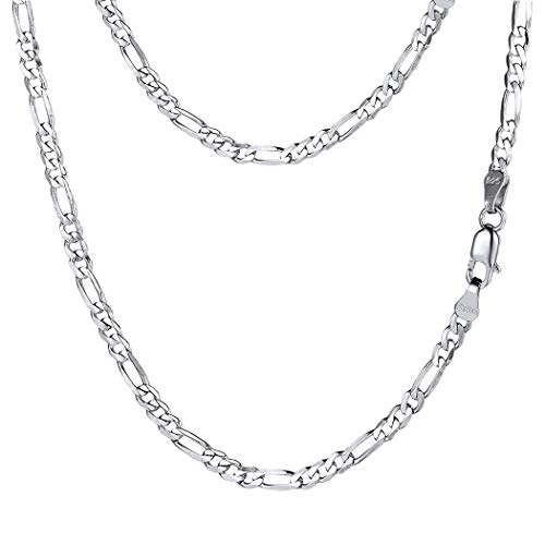 PROSTEEL 925 Sterling Silver Italian Figaro Link Chain Necklace Men Women Kids Thin Chain Layering Necklace Cord 18''