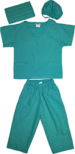 Kids Doctor Dress up Surgeon Costume Set, 2T/3T, Surgical Green -