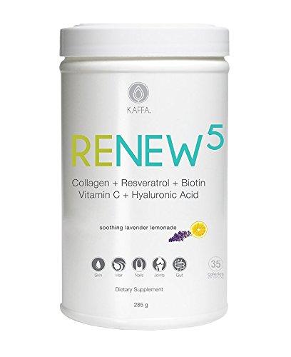 ReNew5 – Skin Rejuvenation & Hydration Drink Mix, 5 Potent Ingredients for Beauty and Wellness – Collagen + Resveratrol + Biotin + Vitamin C + Hyaluronic Acid,30 servings (Soothing Lavender Lemonade)