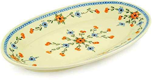 Polish Pottery 17¾-inch Platter made by Ceramika Artystyczna (Cherry Blossoms Theme) + Certificate of Authenticity