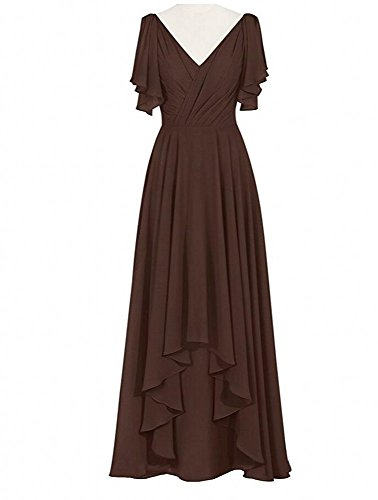 Botong Piscine V-cou Robe De Demoiselle D'honneur Longue Chocolat Robe De Bal Du Soir En Mousseline De Soie Formelle