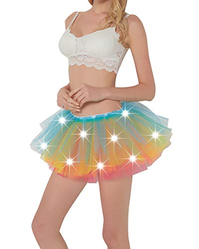 Women LED Tutu Light Up Neon Rainbow 5 Layered Party Dance Tulle Skirt -