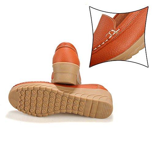 T-juli Instappers Voor Dames - Nonchalante Slip Op Ronde Neus Anti-slip Lage Wig Comfortabele Cent Oranje