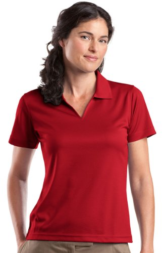 Sport-Tek - Ladies Dri-Mesh V-Neck Polo. L469 - Red_XXL