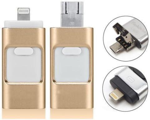 Rayyan - Memoria para iPhone (64 GB, iOS, flash 3 en 1, USB 3.0, disco compacto, almacenamiento externo inalámbrico para Apple iOS y Android, 64 G, oro rosa) (64.00GB)