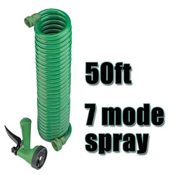 coil garden hose. 50 Feet Coil Garden Hose With Spray Nozzle 4