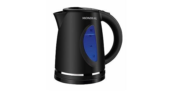 MONDIAL Hot Kettle Hervidor de Agua de 1,7L color Negro, 2200 W de potencia, base giratoria 360º Calentador de agua eléctrico con filtro: Amazon.es: Hogar
