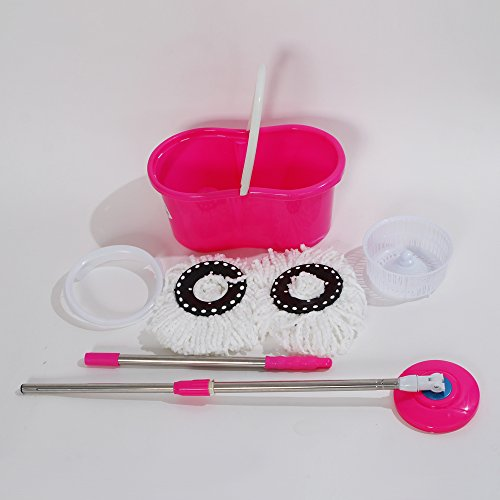360° Bucket Floor Spin Mop (Pink) - 3