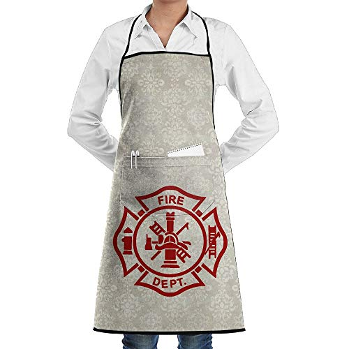(Mens Womens Overlock Apron Firefighter Adjustable Polyester BBQ Apron For)