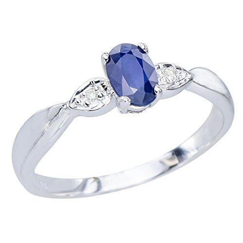 Graceful Womens Natural Sapphire Gemstone 9K White Gold D...