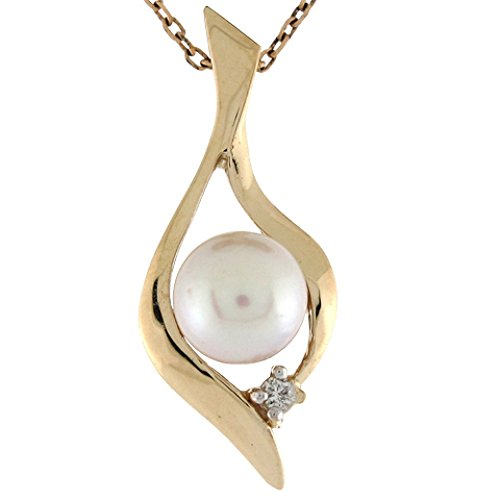 10k Gold Cultured Pearl with Diamond Accent Modern 2.5cm Slide Pendant