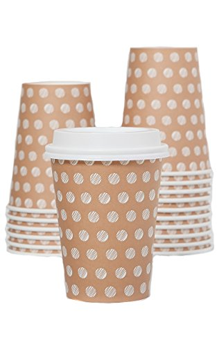 The #1 Most Stylish Disposable Paper Coffee Cups by Little Beans - 100 pack Insulated Hot Cup To Go - Quantity 100 Cups & 100 Secure Lids - Best Quality Guaranteed - 12 ounce size (Best Bean To Cup)