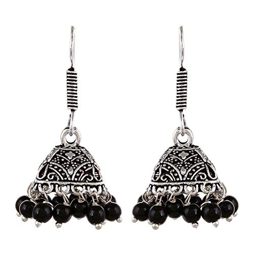 Sansar India Oxidized Silver Plated Handmade Black Beaded Jhumkas Indian Earrings Jewelry for Girls and Women