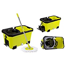 Easy Clean Magic 360 Rotating Spin Twist Hurricane Spinning and Shout Mop and Bucket System As Seen on TV (QVC) With Soap Bottle and Water Outfall Apple Green