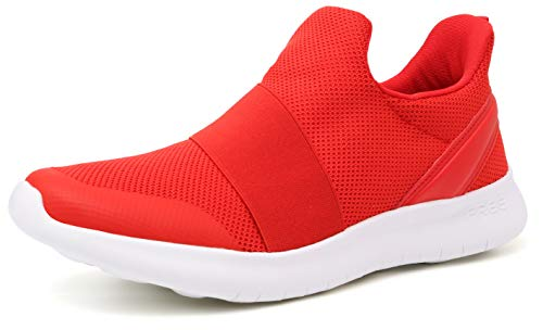 WHITIN Laceless Slip on Sneakers for Women Mesh Breathable Comfortable Casual Walking Tennis Athletic Workout Slip Resistant Shoes for Ladies with Memory Foam Red Size 8